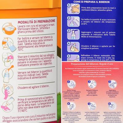 Istruzioni sulla preparazione della formula di tre tra le principali marche di latte in polvere in commercio.
